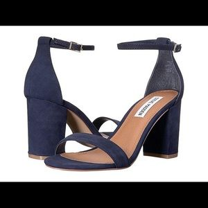 Blue strappy heels